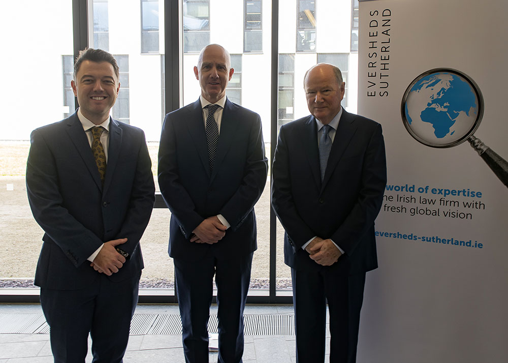 Dr Joe McGrath, UCD Sutherland School of Law; Ciaran Walker, consultant at Eversheds Sutherland; and Mr Justice John Hedigan, chair of the Irish Banking Culture Board