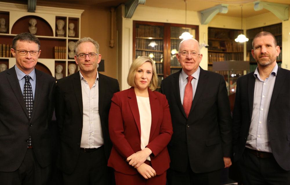 Professor Tarlach McGonagle, Professor Neville Fox, Órla O'Donnell, Justice Minister Charlie Flanagan and Professor Andrew Scott