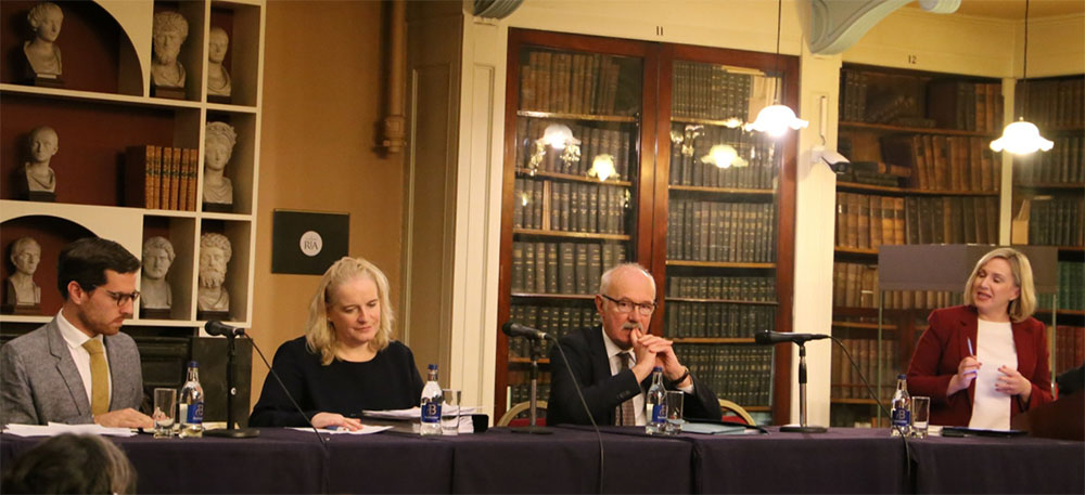 Dr David Kenny, assistant professor of law at Trinity College Dublin; Paula Mullooly, head of legal affairs at RTÉ; and Press Ombudsman Peter Feeney