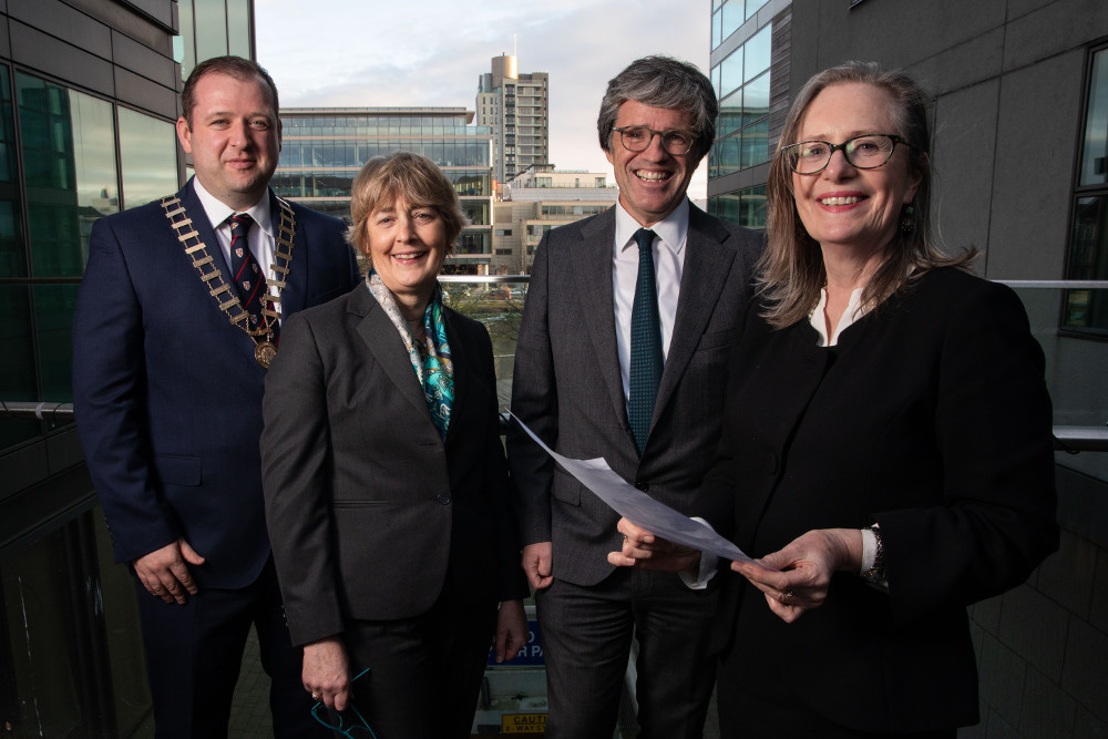 Keith Kelliher, CIArb chair; Lorraine O'Sullivan SC; Eamon Harrington of Comyn Kelleher Tobin; and Ms Justice Marie Baker of the Court of Appeal