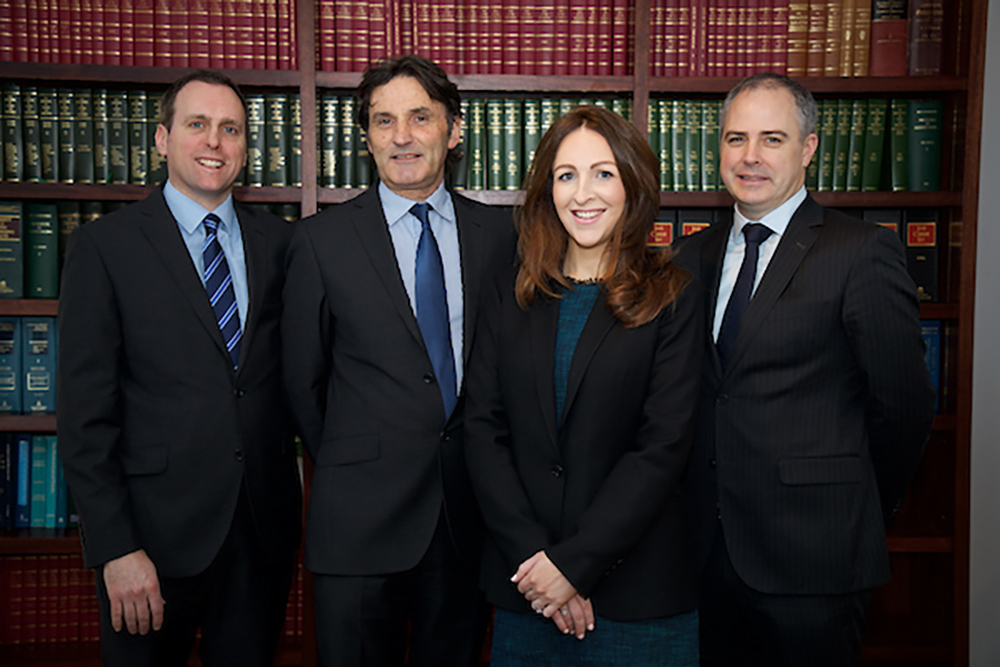 Partner Brian Ó Longaigh, managing partner Hugh J. Millar, new partner Emma Cafferky and partner James Bardon