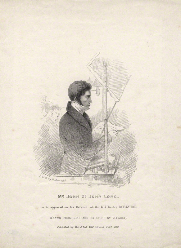 Sketch of John St. John Long at one of his manslaughter trials, dated 19 February 1831 (J Fahey, National Portrait Gallery)