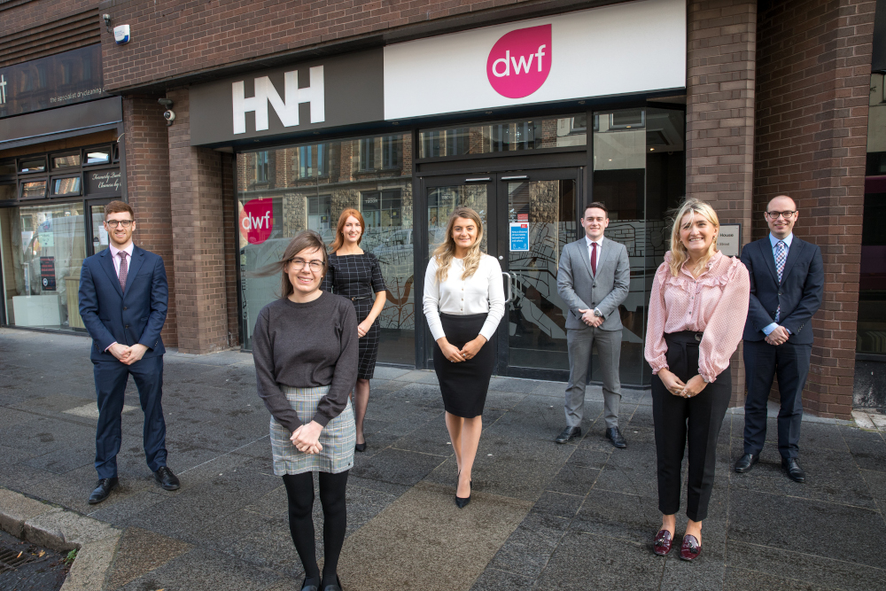 Trainees Ben Palmer and Kerry Murphy, newly-qualified solicitors Rebecca Polley and Beth Garrett, and trainees Paul Stelges, Emma McCammon and James McKittrick
