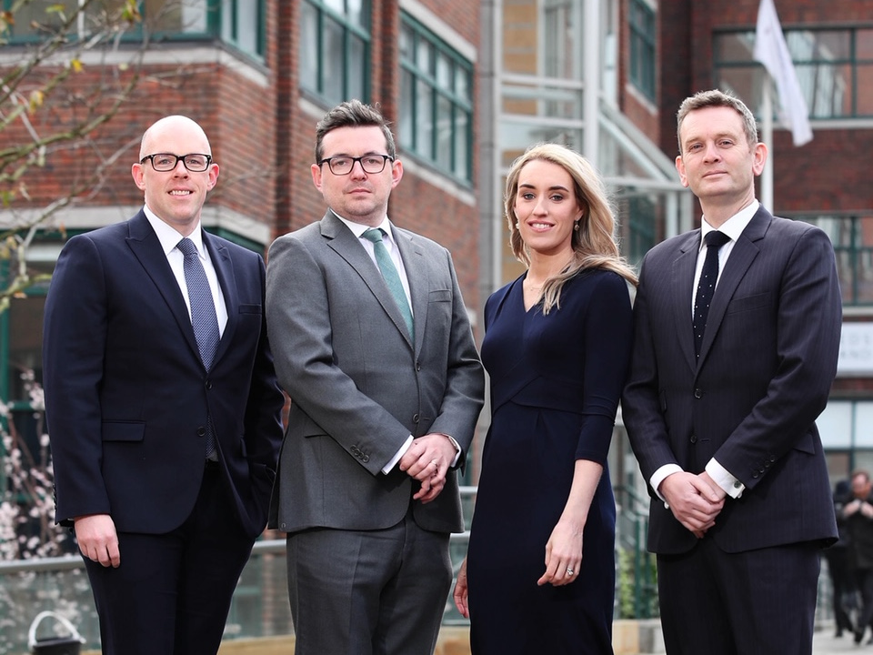 Partners Peter O'Neill, Eoin MacAodha and Julie Galbraith with managing partner Alan Murphy