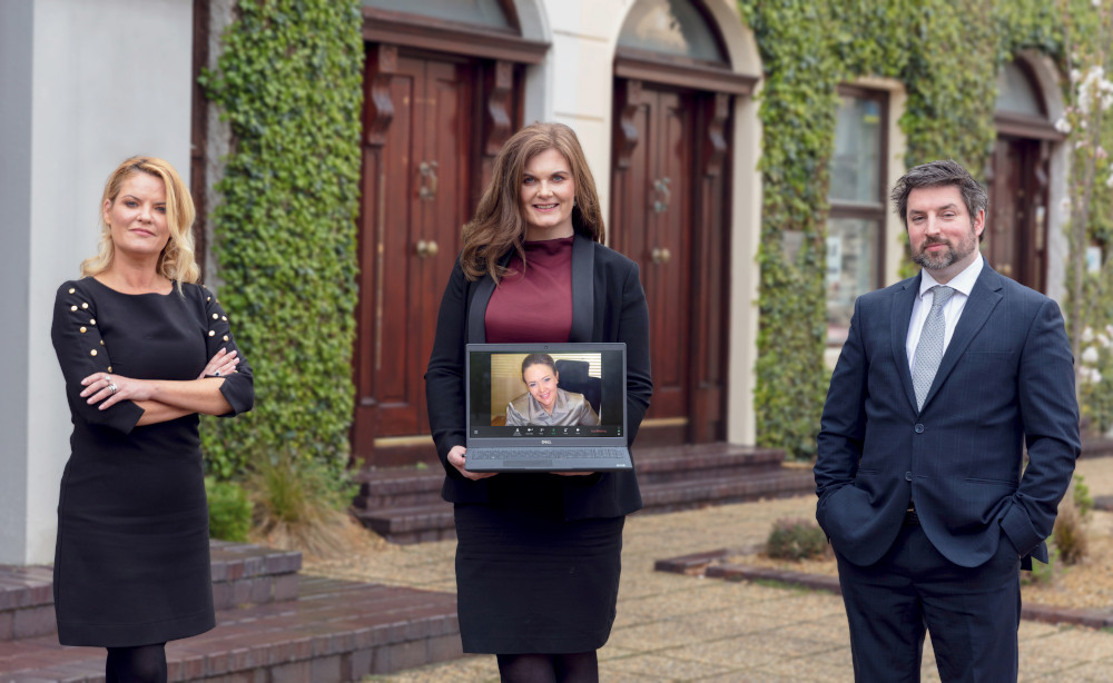 Hatstone Ireland partner Julie O'Sullivan, managing partner Grainne Loughnane, Group partner Bella Ward on screen and partner Setanta Landers