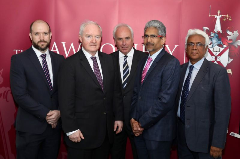 Solicitor Gary Adair; Sir Declan Morgan, Lord Chief Justice of Northern Ireland; Santhaan Krishnan, former CLA president; Brian Speers, CLA president; and Mr Justice Vasheist Kokaram of the High Court in Trinidad and Tobago