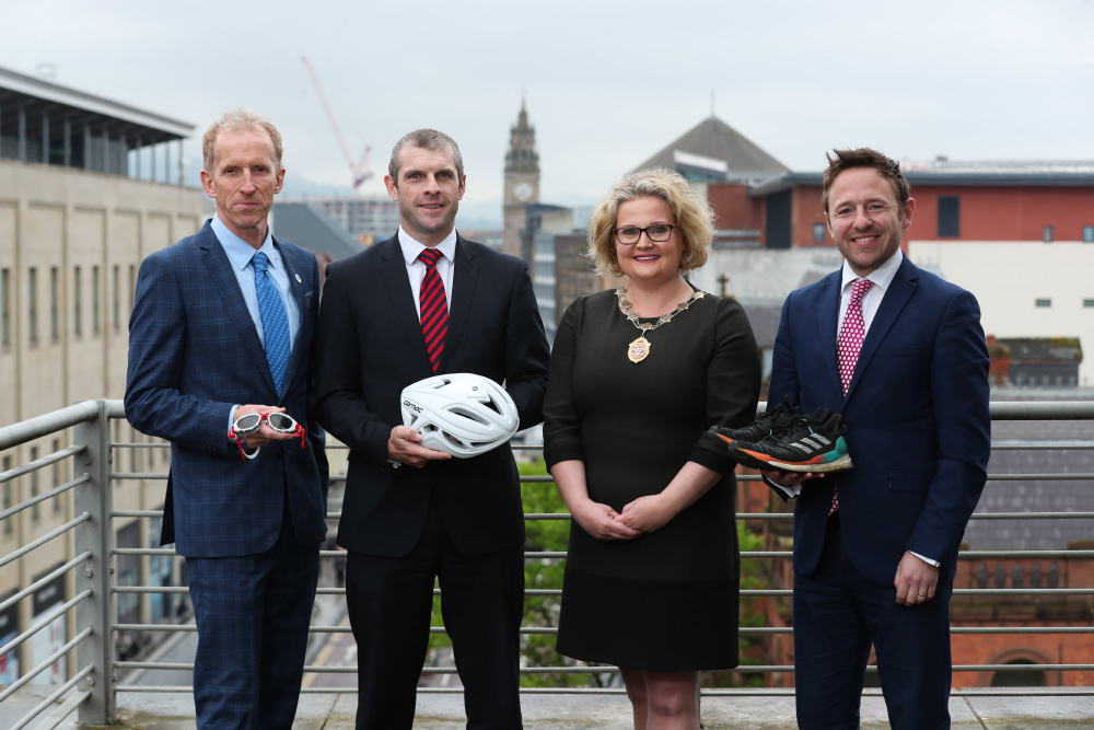 Peter Jack; Darren Toombs; Suzanne Rice, president of the Law Society of Northern Ireland; and Adam Wood