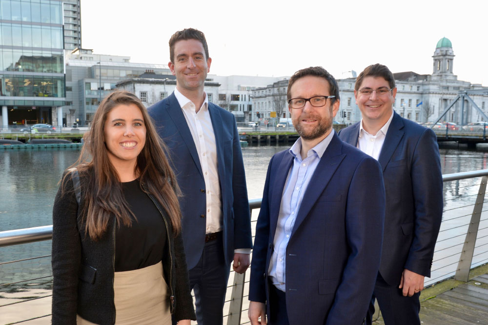 Solicitor Sarah Connolly, partner Kieran Regan, managing partner Adrian Wall and new partner Adam Griffiths