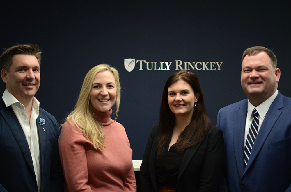 New appointees Aaron McGarry and Laura Holtham, Ireland managing partner Grainne Loughnane and founding partner Mathew B. Tully