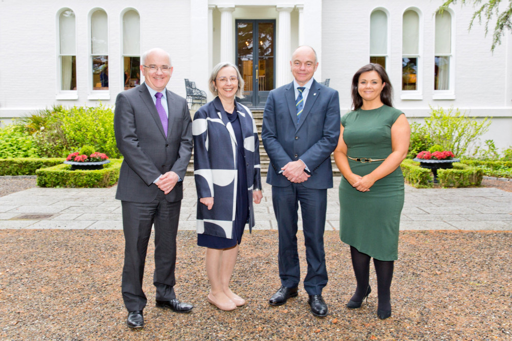 Kevin Hoy, chair of Mason Hayes & Curran; Professor Imelda Maher, UCD Dean of Law; Professor Andrew J Deeks, president of UCD; and Judith Riordan, partner at Mason Hayes & Curran